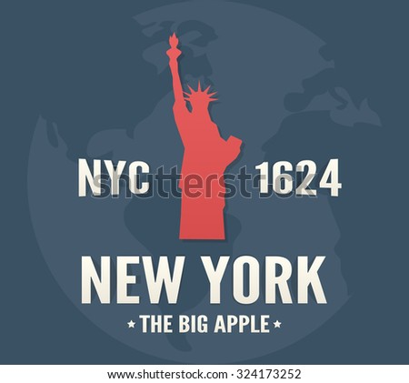 New York t-shirt apparel fashion design. Vintage retro Statue of Liberty print poster. - stock vector