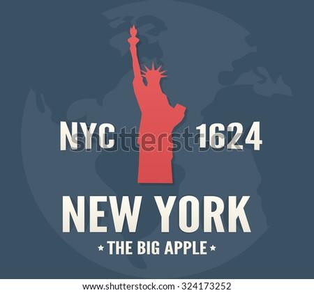 New York t-shirt apparel fashion design. Vintage retro Statue of Liberty print poster. - stock vector