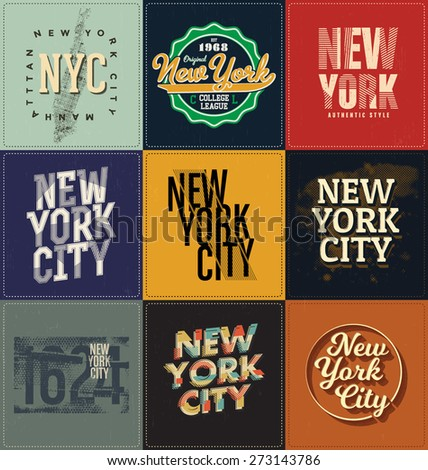 New York Themed Collection - Typographic Design Set - Classic look ideal for screen print shirt design - stock vector