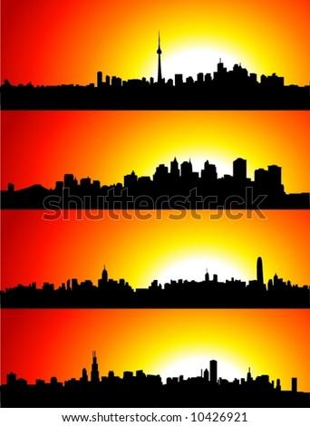 New York, Toronto, Hong Kong, Shanghai Skyline with Sunset. - stock vector