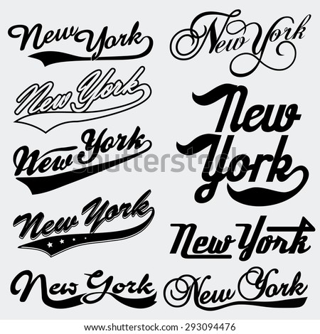 New York typography Handmade Writing set. T-shirt lettering emblem collection - vector art - stock vector