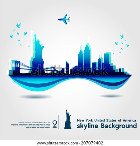 New York, United States of America, skyline background, vector Illustration - stock vector