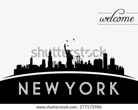 New York USA skyline silhouette, black and white design, vector illustration - stock vector