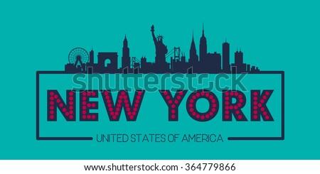 New York USA Skyline silhouette plate vector design - stock vector