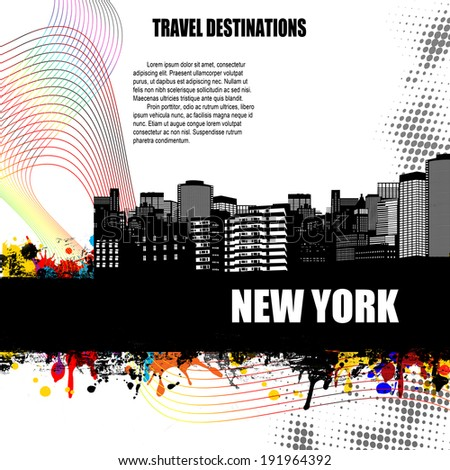 New York , vintage travel destination grunge poster with colored splash and space for your text, vector illustration - stock vector