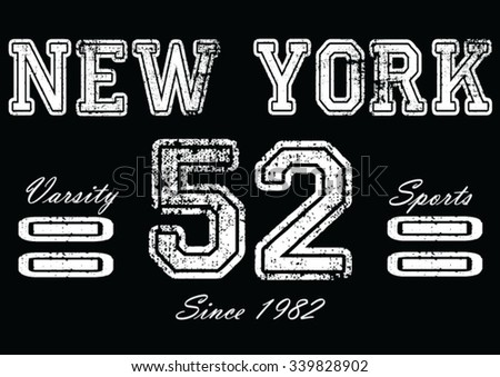 New York vintage vector print and varsity. For t-shirt or other uses in vector. - stock vector