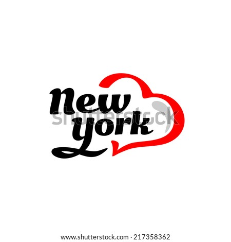 New York with heart logo. Black and red. - stock vector