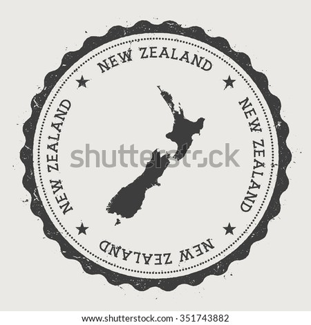 New Zealand. Hipster round rubber stamp with New Zealand map. Vintage passport stamp with circular text and stars, vector illustration - stock vector