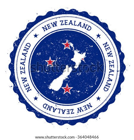 New Zealand map and flag in vintage rubber stamp of country colours. Grungy travel stamp with map and flag of New Zealand, vector illustration - stock vector