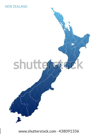 New Zealand map with regions.