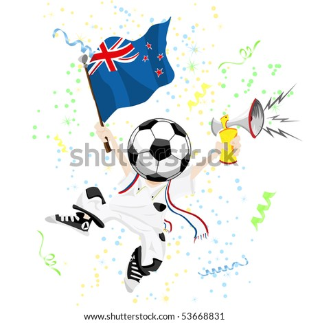 New Zealand Soccer Fan with Ball Head. Editable Vector Illustration - stock vector