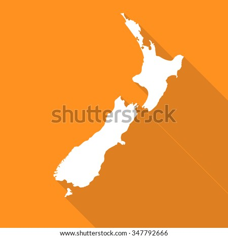 New Zealand white map,border flat simple style with long shadow on orange background