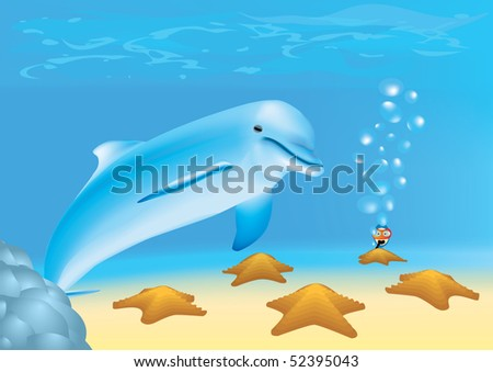 Newbie diver is looking at a dolphin and sea-stars underwater - stock vector