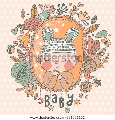 Newborn baby card in light pastel colors. Stylish shower card with baby boy, flowers, hearts, angel, birds, bees and other holiday elements. Cartoon vector background - stock vector