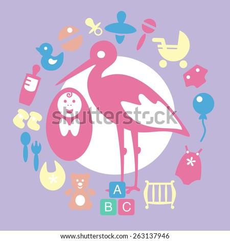 Newborn baby girl icons set - stock vector