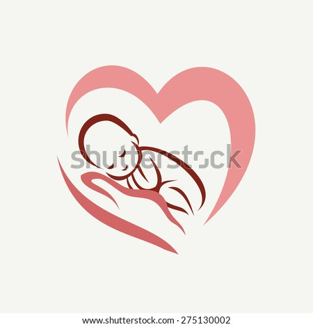 newborn baby lying on the hand symbol, childbirth and parenthood concept - stock vector
