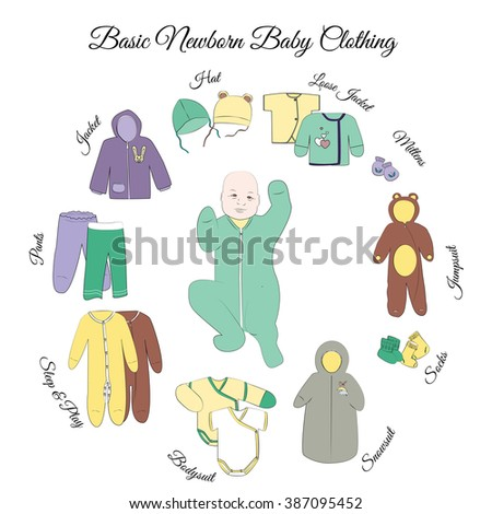 Newborn basic clothing set. Comfortable baby clothes for first days. Hats, mittens, socks, jacket, loose jackets, pants, sleep and play, bodysuits, snowsuit, and jumpsuit. - stock vector