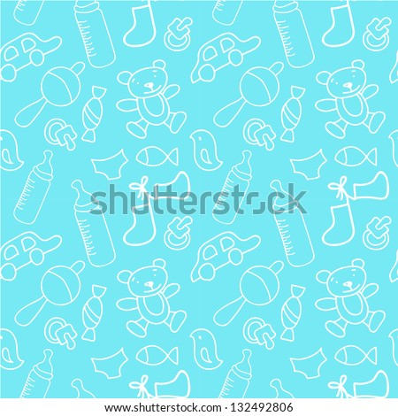 Newborn boy seamless pattern - stock vector