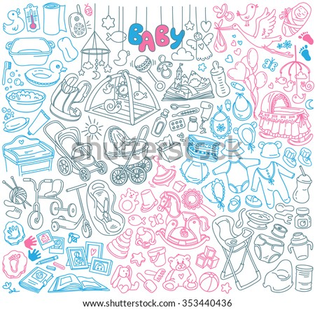 Newborn infant themed doodle set. Baby care, feeding, clothing, toys, health care stuff, safety, furniture, accessories. Vector drawings isolated on white background. - stock vector