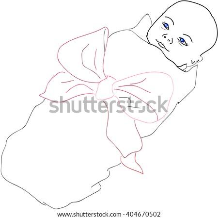 newborn little baby  - stock vector