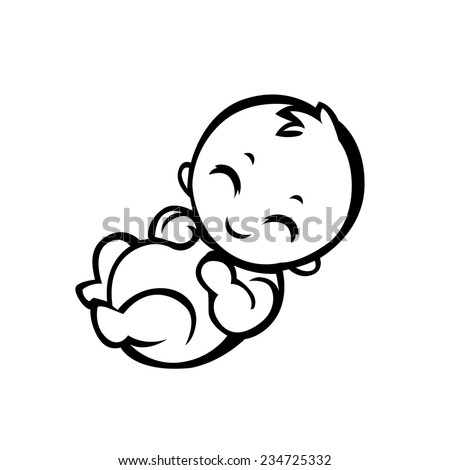 newborn little baby smiling with small arms and legs - stylized art for logos, signs, icons and design cards, invitations and baby shower