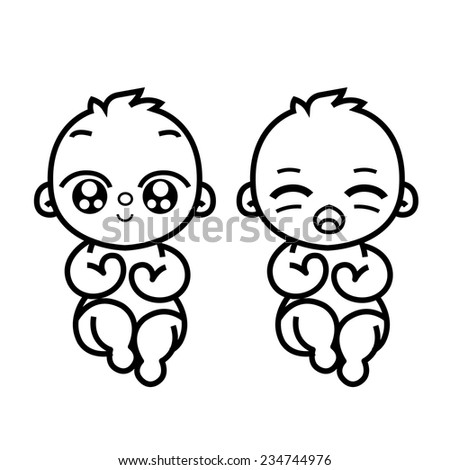 newborn little twins baby smiling with small arms and legs - stylized art for logos, signs, icons and design cards, invitations and baby shower - stock vector