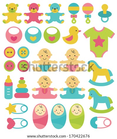 newborn objects collection. vector illustration - stock vector