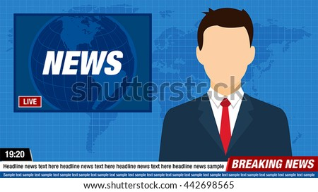 News Anchor On TV Breaking Background
