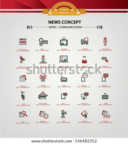 News and Communication icons,Red version - stock vector