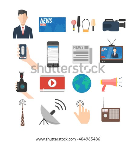 news and media icon set. anchorman, news stand, microphones, camera, social network, newspaper, tv, radio, satellite connection. isolated vector illustration collection - stock vector