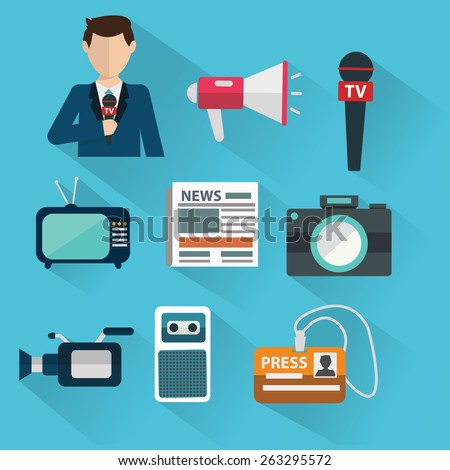 News cast journalism television radio press conference concept, vector illustration. Icons set in flat design style spokesperson, camera, interview, microphone, tv etc - stock vector