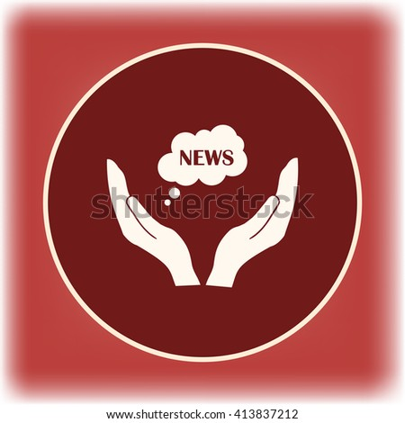 news cloud on a hand icon, Vector illustration. Flat design style - stock vector