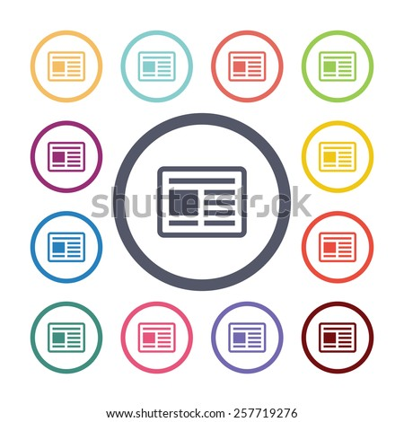 news flat icons set. Open colorful buttons  - stock vector