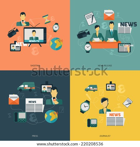 News flat set with shooting release press journalist isolated vector illustration. - stock vector