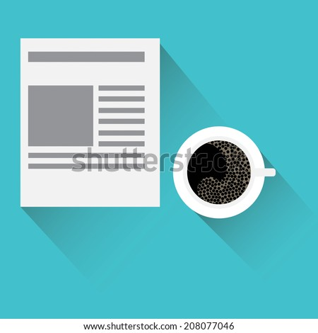 News icon: daily newspaper and hot coffee. - stock vector