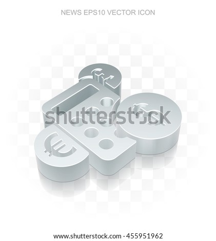 News icon: Flat metallic 3d Calculator, transparent shadow on light background, EPS 10 vector illustration. - stock vector