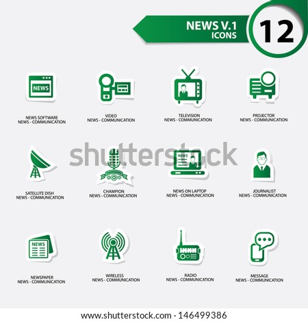 News icon set 1,green version vector - stock vector