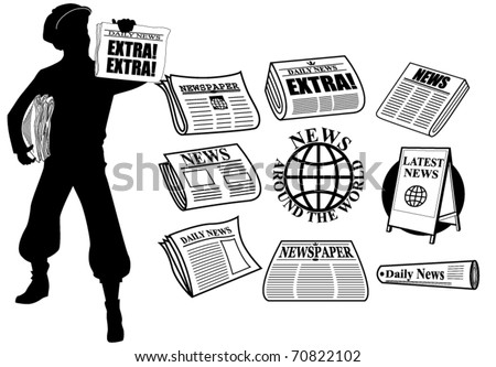 News icons and design elements - stock vector