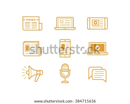 News media icons. Traditional and modern media. Newspaper and modern devices and technology. Vector illustration