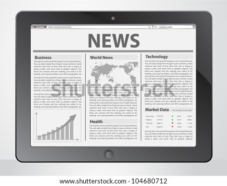News on generic Tablet PC. Vector illustration