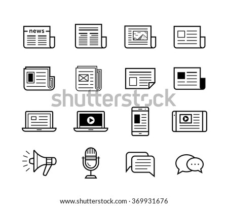 News publish media icons. Newspaper and modern devices and technology. Vector illustration - stock vector