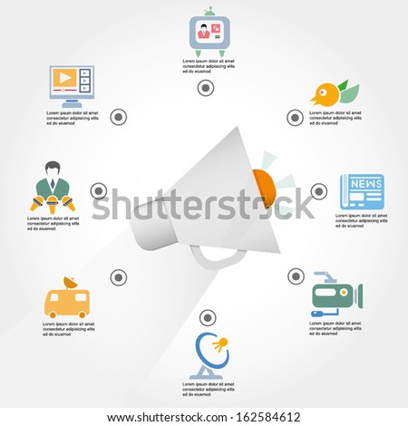 news report concept info graphic, media and communication - stock vector