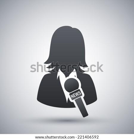 News reporter icon, vector - stock vector
