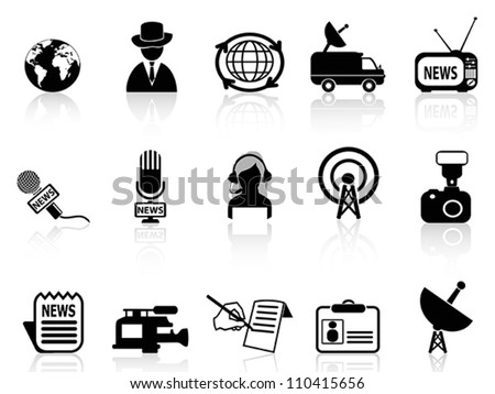 news reporter icons set - stock vector