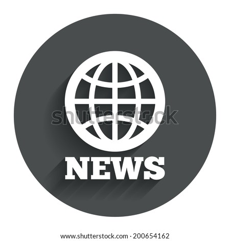 News sign icon. World globe symbol. Circle flat button with shadow. Modern UI website navigation. Vector