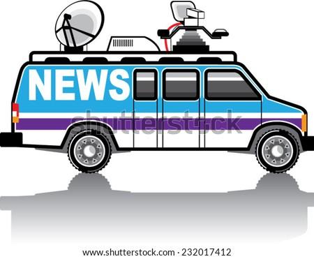 News Van vector - stock vector