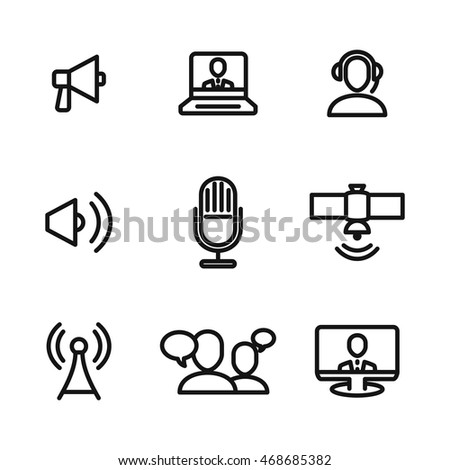 news vector icons. Simple illustration set of 9 news elements, editable icons, can be used in logo, UI and web design
