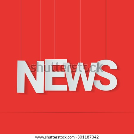 News word hanged on strings. Vector illustration