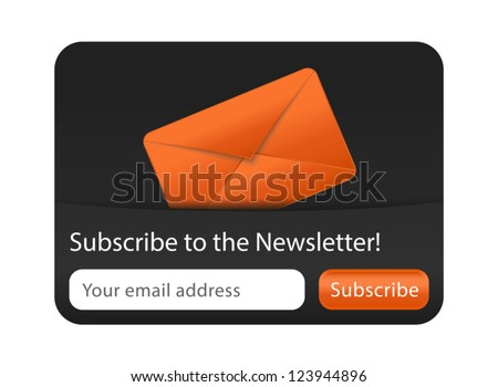 Newsletter Form with Orange Envelope - stock vector