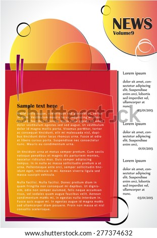 Newsletter or website template design. Can be used in business and non-profit organizations. Colorful illustration. - stock vector